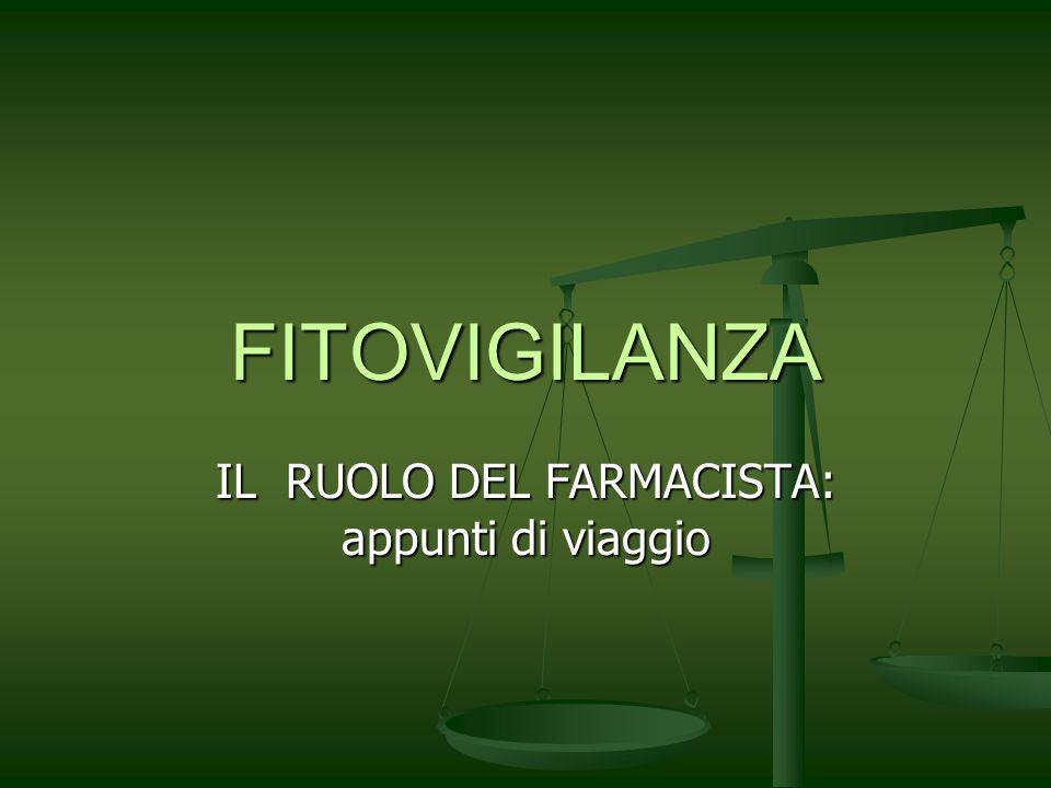FITOVIGILANZA IL RUOLO DEL FARMACISTA: appunti di viaggio