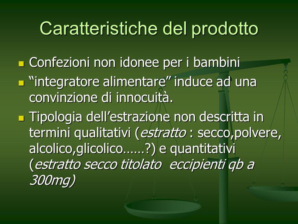 Caratteristiche del prodotto Confezioni non idonee per i bambini Confezioni non idonee per i bambini integratore alimentare induce ad una convinzione