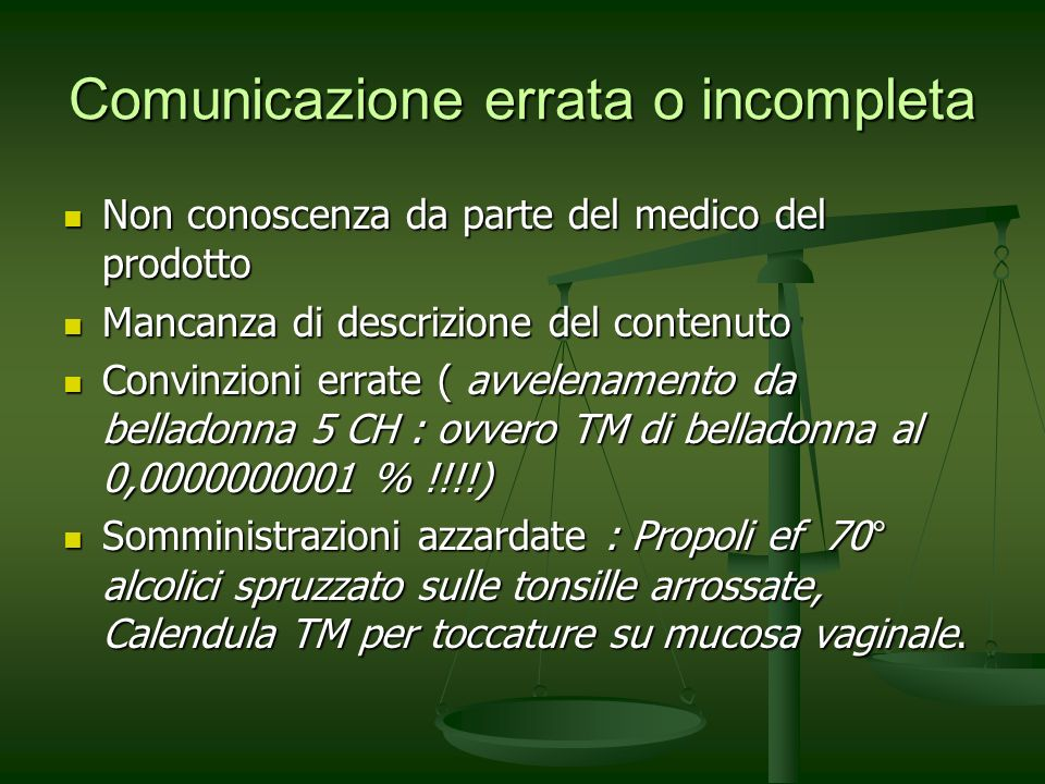 Comunicazione errata o incompleta Non conoscenza da parte del medico del prodotto Non conoscenza da parte del medico del prodotto Mancanza di descrizi