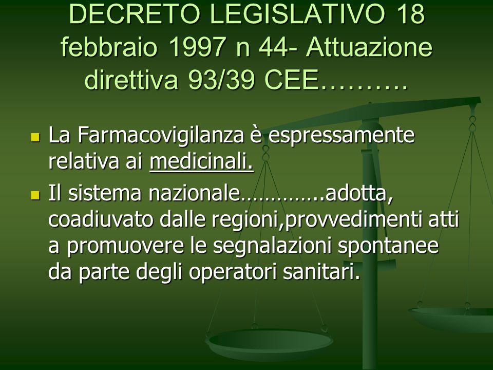DECRETO LEGISLATIVO 18 febbraio 1997 n 44- Attuazione direttiva 93/39 CEE………. La Farmacovigilanza è espressamente relativa ai medicinali. La Farmacovi
