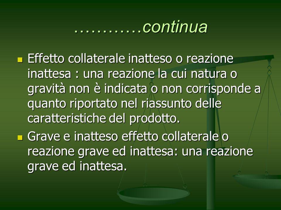 …………continua Effetto collaterale inatteso o reazione inattesa : una reazione la cui natura o gravità non è indicata o non corrisponde a quanto riporta