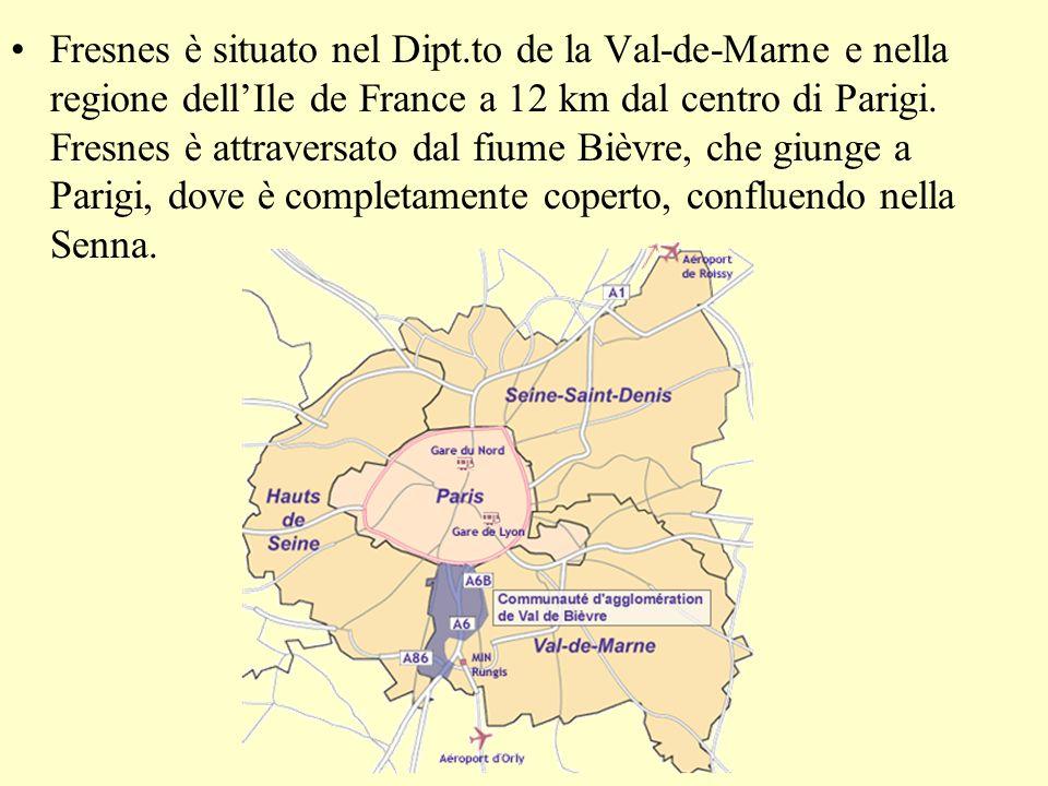 Fresnes è situato nel Dipt.to de la Val-de-Marne e nella regione dellIle de France a 12 km dal centro di Parigi.