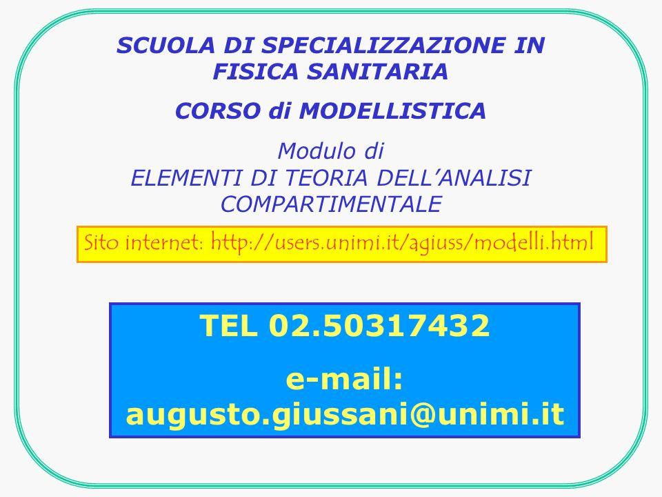 SCUOLA DI SPECIALIZZAZIONE IN FISICA SANITARIA CORSO di MODELLISTICA Modulo di ELEMENTI DI TEORIA DELLANALISI COMPARTIMENTALE Sito internet: http://users.unimi.it/agiuss/modelli.html TEL 02.50317432 e-mail: augusto.giussani@unimi.it