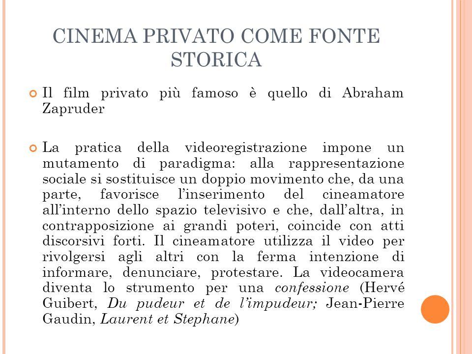CINEMA PRIVATO COME FONTE STORICA Il film privato più famoso è quello di Abraham Zapruder La pratica della videoregistrazione impone un mutamento di p
