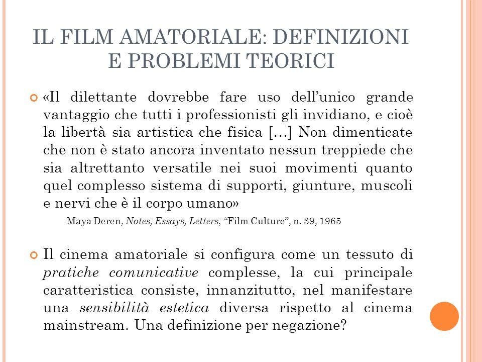 FILM AMATORIALE: DEFINIZIONI E PROBLEMI TEORICI Lamatorialità delinea dinamiche di relazione tra un soggetto-osservatore e un oggetto-osservato Le strutture intenzionali sono determinate da due fattori: 1.