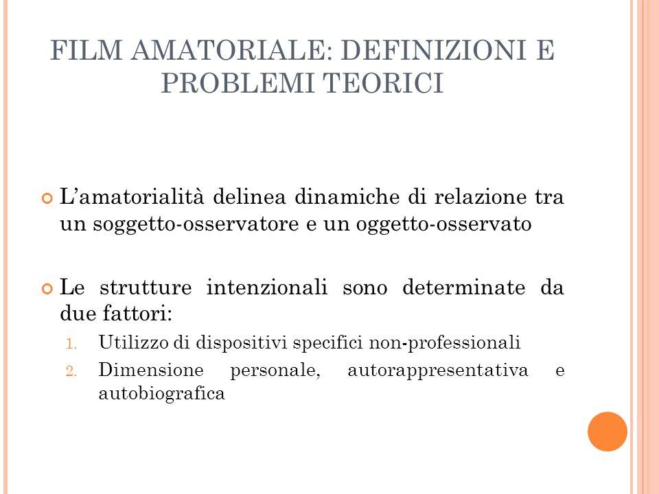 FILM AMATORIALE: DEFINIZIONI E PROBLEMI TEORICI Lamatorialità delinea dinamiche di relazione tra un soggetto-osservatore e un oggetto-osservato Le str