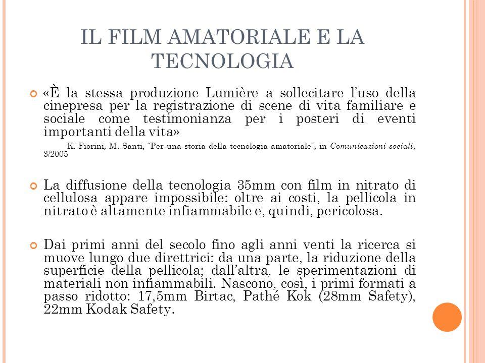 IL FILM AMATORIALE E LA TECNOLOGIA Nel 1922 è la volta del 9,5mm (o Pathé Baby), lanciato dalle Pathé Freres.