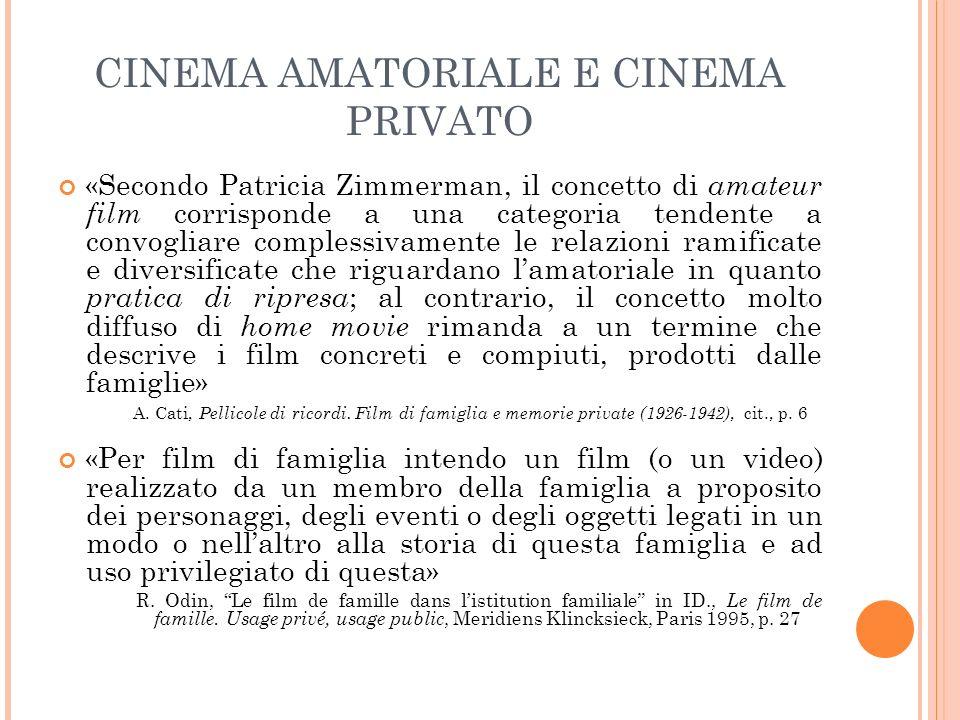 CINEMA AMATORIALE E CINEMA PRIVATO «Secondo Patricia Zimmerman, il concetto di amateur film corrisponde a una categoria tendente a convogliare comples