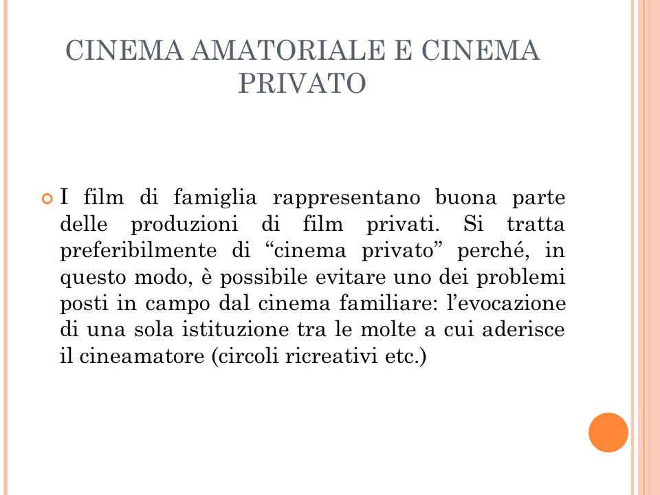 CINEMA AMATORIALE E CINEMA PRIVATO I film di famiglia rappresentano buona parte delle produzioni di film privati. Si tratta preferibilmente di cinema