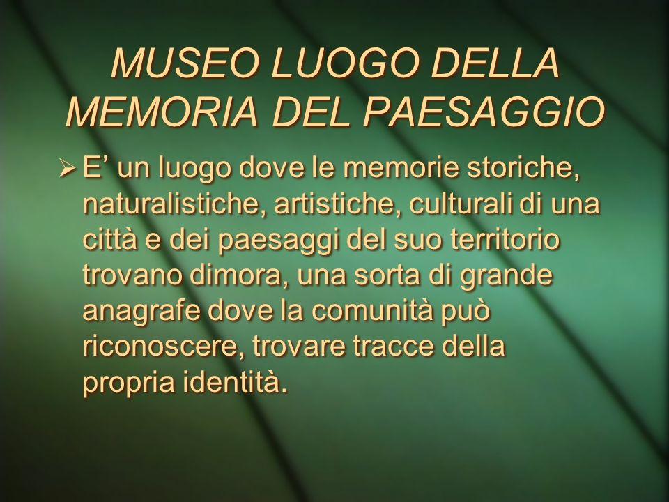 MUSEO PROPULSORE DELLA RICERCA Relativa alle tematiche proprie del museo Strettamente collegata al territorio Memoria documentalistica (beni+database)