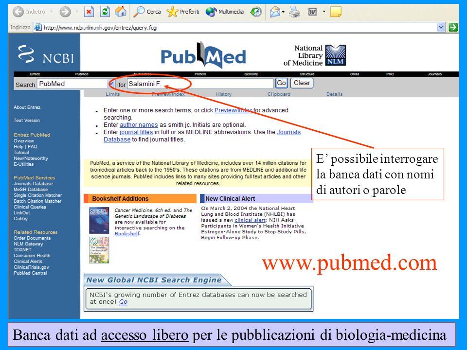 Banca dati ad accesso libero per le pubblicazioni di biologia-medicina E possibile interrogare la banca dati con nomi di autori o parole www.pubmed.co
