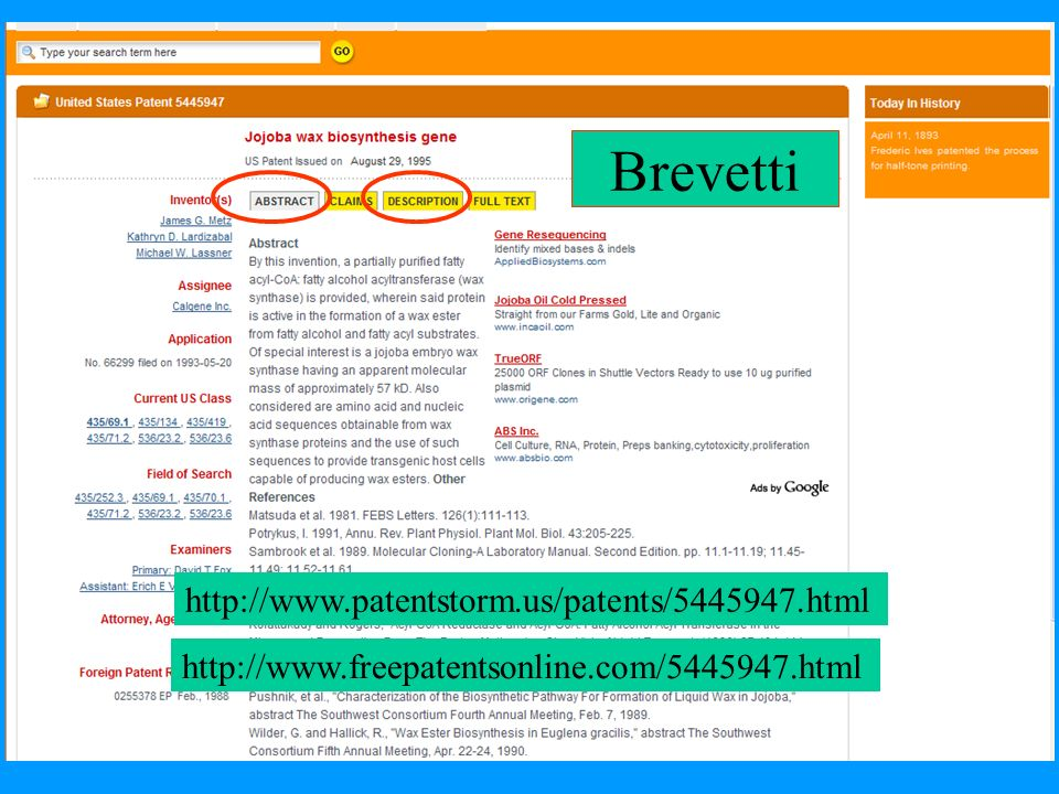 Brevetti http://www.freepatentsonline.com/5445947.html http://www.patentstorm.us/patents/5445947.html