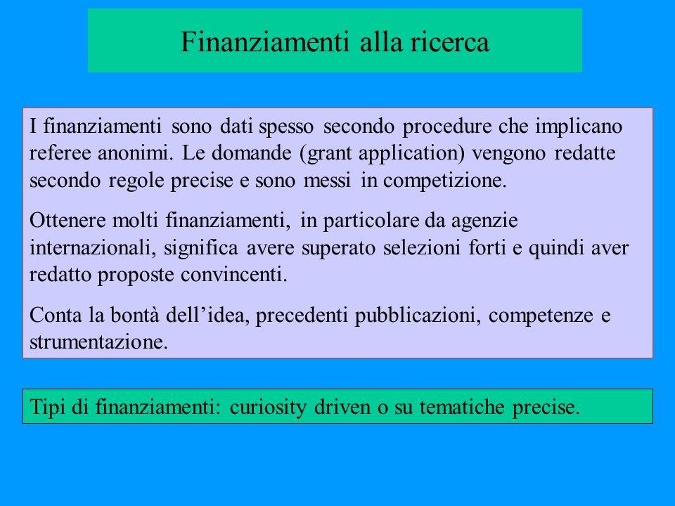 Finanziamenti alla ricerca I finanziamenti sono dati spesso secondo procedure che implicano referee anonimi. Le domande (grant application) vengono re