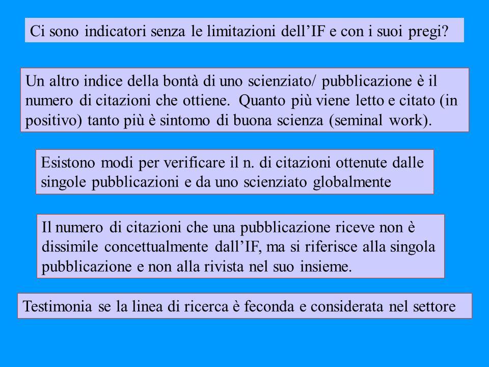 Esistono modi per verificare il n. di citazioni ottenute dalle singole pubblicazioni e da uno scienziato globalmente Un altro indice della bontà di un
