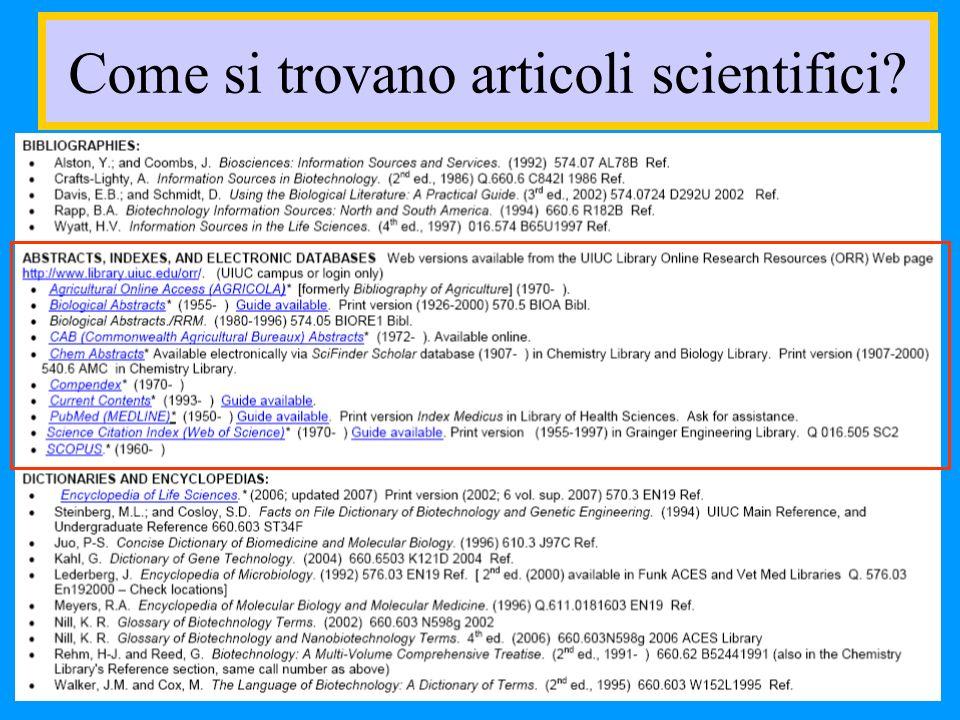 Come si trovano articoli scientifici?