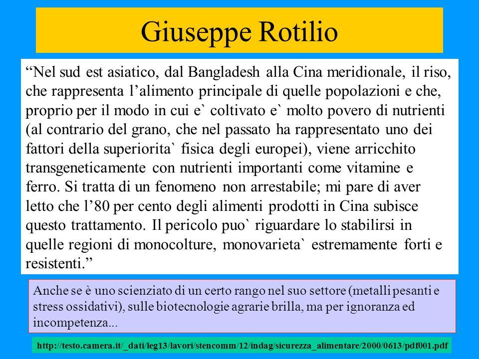Giuseppe Rotilio Nel sud est asiatico, dal Bangladesh alla Cina meridionale, il riso, che rappresenta lalimento principale di quelle popolazioni e che