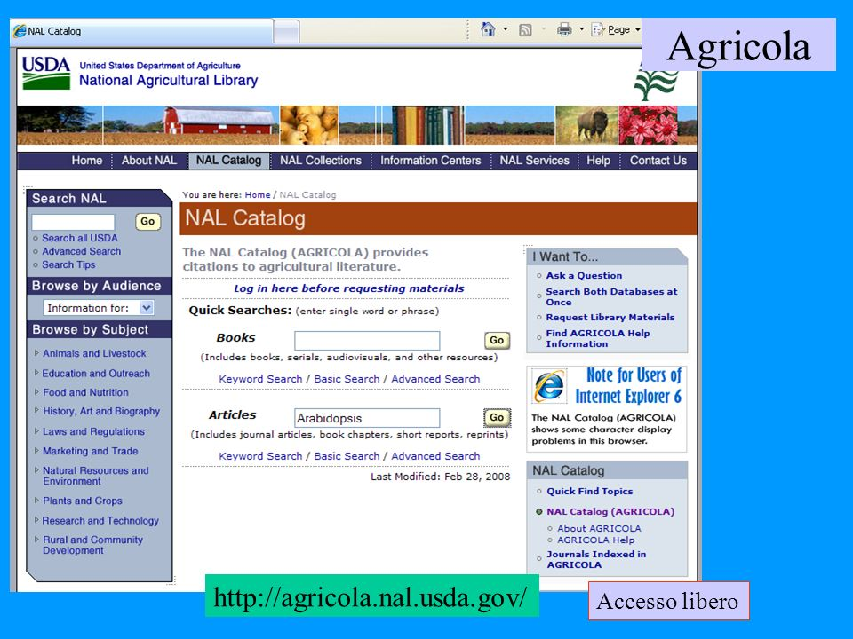 http://agricola.nal.usda.gov/ Agricola Accesso libero