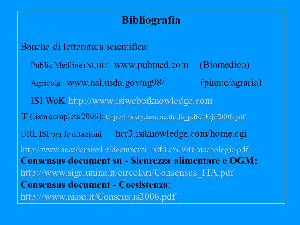 Bibliografia Banche di letteratura scientifica: Public Medline (NCBI) : www.pubmed.com (Biomedico) Agricola: www.nal.usda.gov/ag98/ (piante/agraria) I