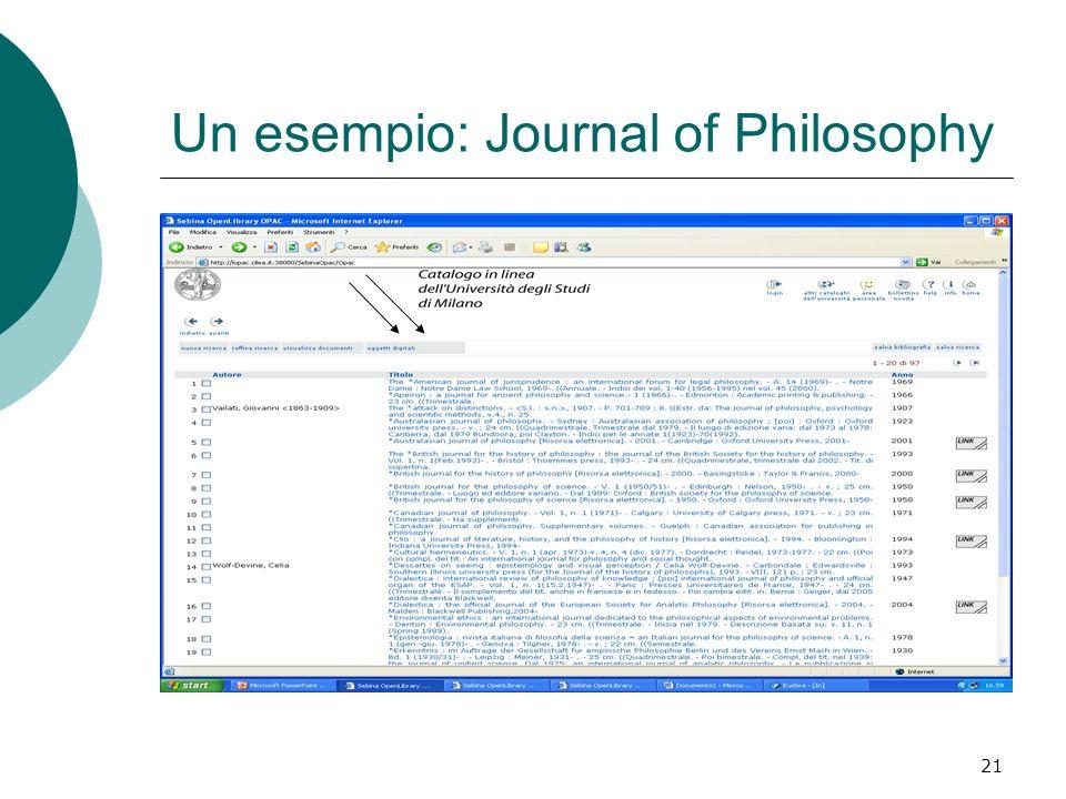 21 Un esempio: Journal of Philosophy