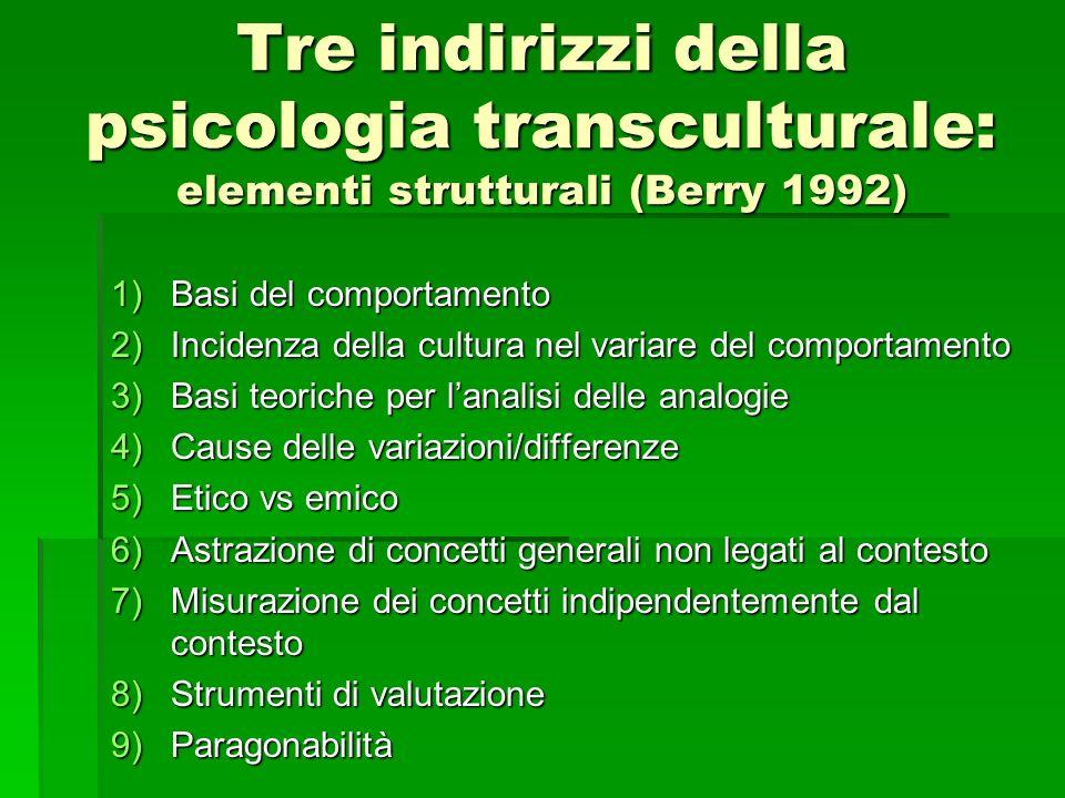 Tre indirizzi della psicologia transculturale: elementi strutturali (Berry 1992) 1)Basi del comportamento 2)Incidenza della cultura nel variare del co