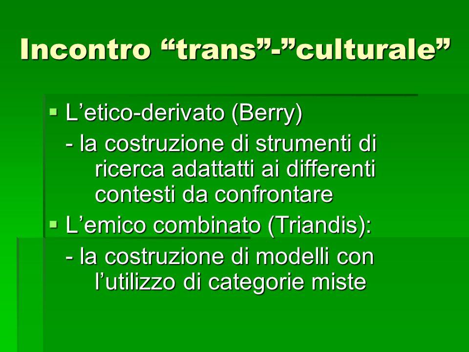 Incontro trans-culturale Letico-derivato (Berry) Letico-derivato (Berry) - la costruzione di strumenti di ricerca adattatti ai differenti contesti da
