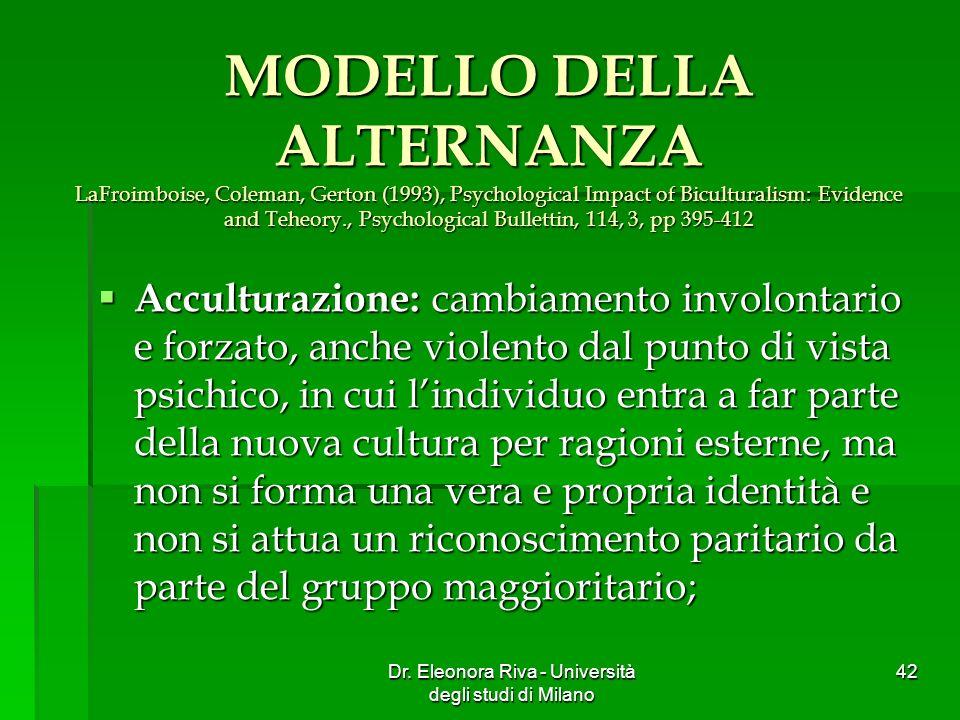 Dr. Eleonora Riva - Università degli studi di Milano 42 MODELLO DELLA ALTERNANZA LaFroimboise, Coleman, Gerton (1993), Psychological Impact of Bicultu