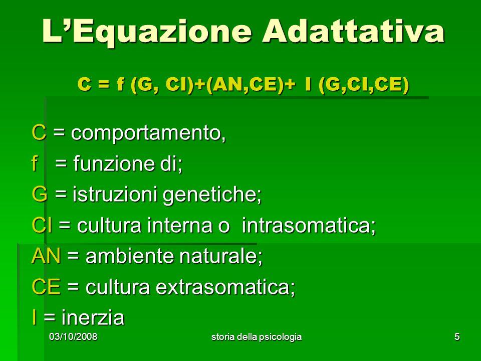 03/10/2008storia della psicologia5 LEquazione Adattativa C = f (G, CI)+(AN,CE)+ I (G,CI,CE) C = comportamento, f = funzione di; G = istruzioni genetic