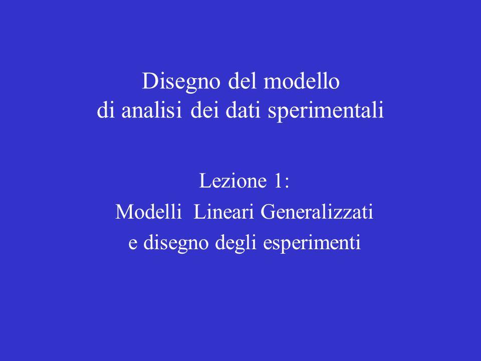 Disegno del modello di analisi dei dati sperimentali Lezione 1: Modelli Lineari Generalizzati e disegno degli esperimenti
