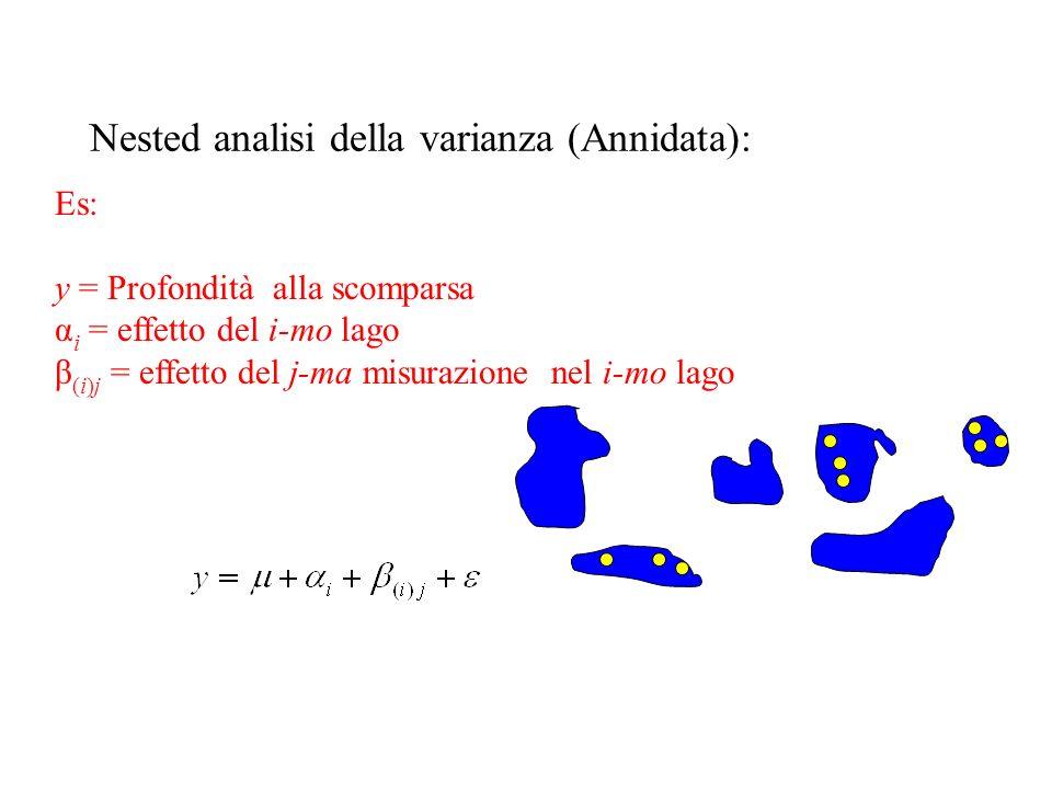 Nested analisi della varianza (Annidata): Es: y = Profondità alla scomparsa α i = effetto del i-mo lago β (i)j = effetto del j-ma misurazione nel i-mo