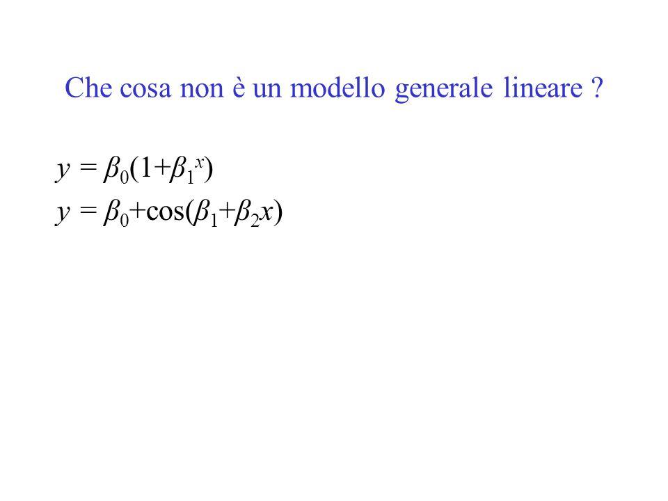 Che cosa non è un modello generale lineare ? y = β 0 (1+β 1 x ) y = β 0 +cos(β 1 +β 2 x)