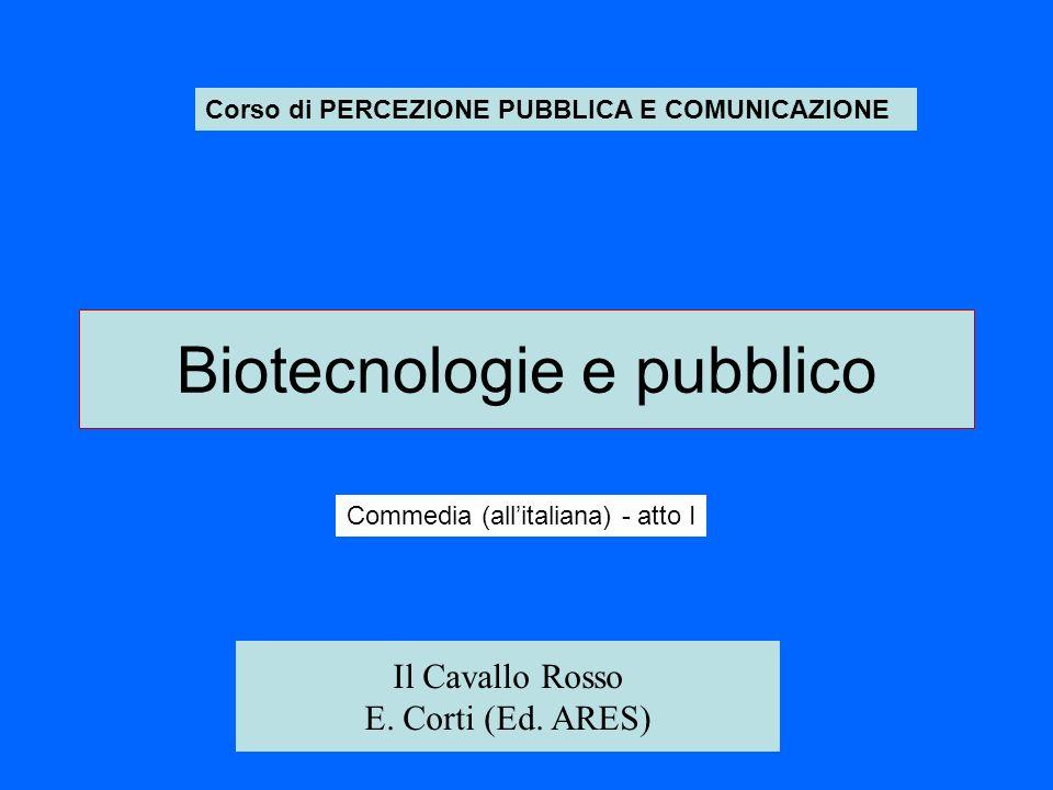 Biotecnologie e pubblico Corso di PERCEZIONE PUBBLICA E COMUNICAZIONE Commedia (allitaliana) - atto I Il Cavallo Rosso E.