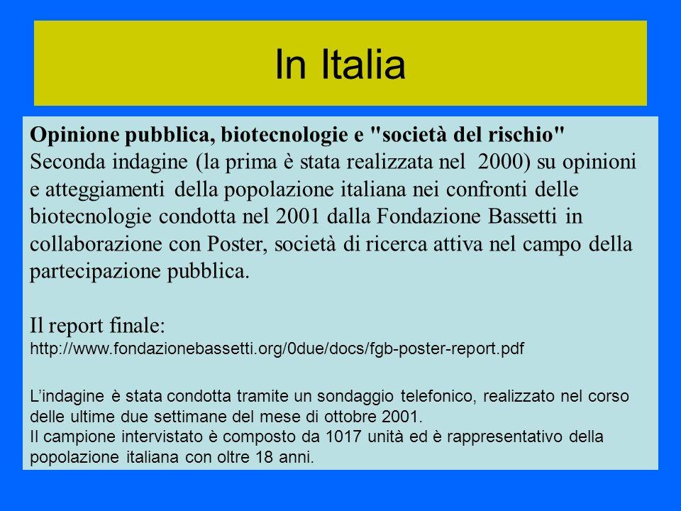 Opinione pubblica, biotecnologie e società del rischio Seconda indagine (la prima è stata realizzata nel 2000) su opinioni e atteggiamenti della popolazione italiana nei confronti delle biotecnologie condotta nel 2001 dalla Fondazione Bassetti in collaborazione con Poster, società di ricerca attiva nel campo della partecipazione pubblica.