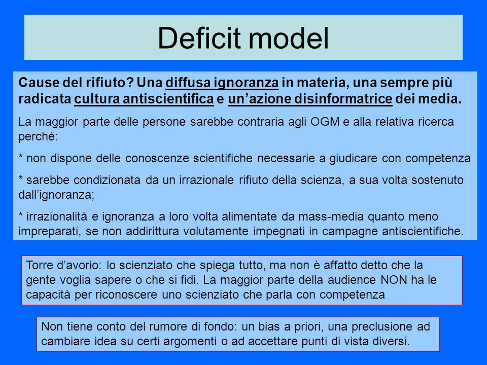 Deficit model Cause del rifiuto.