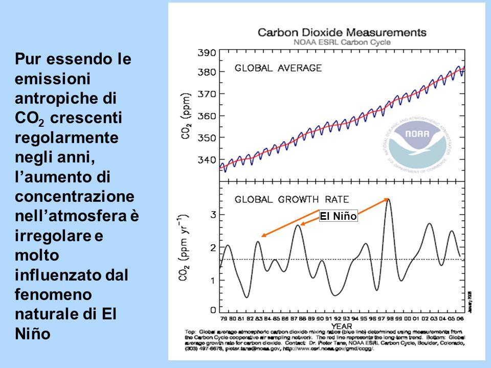 El Niño Pur essendo le emissioni antropiche di CO 2 crescenti regolarmente negli anni, laumento di concentrazione nellatmosfera è irregolare e molto i