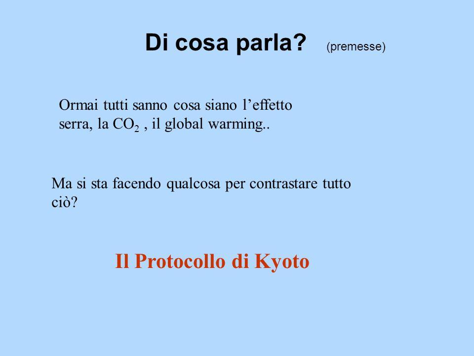 Di cosa parla? (premesse) Ormai tutti sanno cosa siano leffetto serra, la CO 2, il global warming.. Ma si sta facendo qualcosa per contrastare tutto c