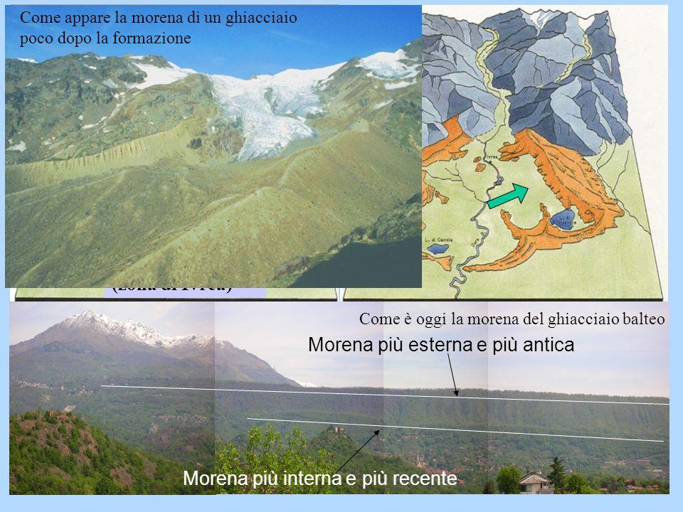 Morena più esterna e più antica Morena più interna e più recente Ghiacciaio Balteo (zona di Ivrea) Come appare la morena di un ghiacciaio poco dopo la