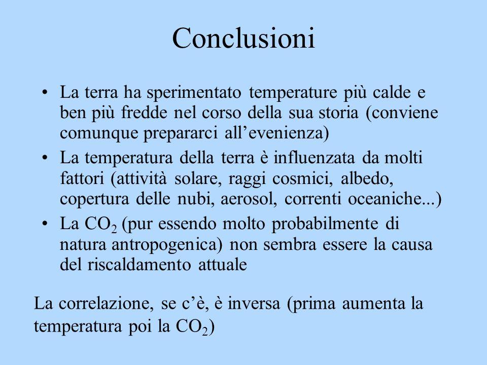 Conclusioni La terra ha sperimentato temperature più calde e ben più fredde nel corso della sua storia (conviene comunque prepararci allevenienza) La