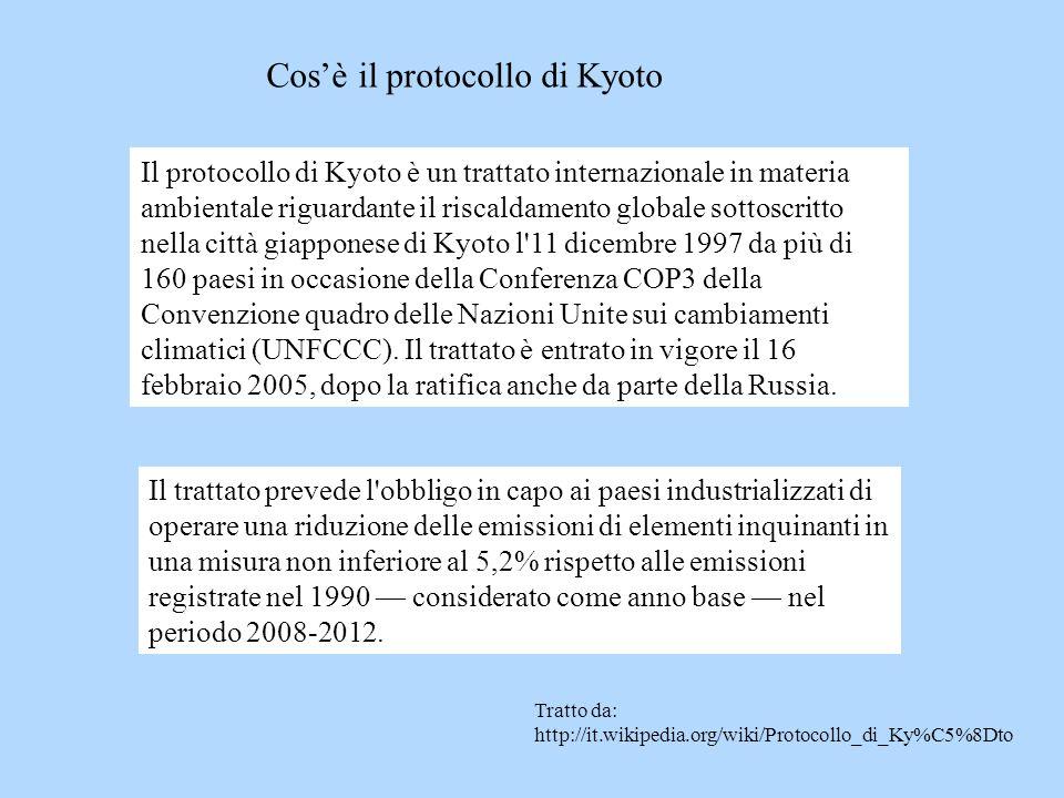 Cosè il protocollo di Kyoto Il protocollo di Kyoto è un trattato internazionale in materia ambientale riguardante il riscaldamento globale sottoscritt