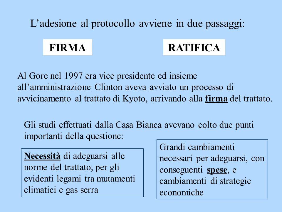 Al Gore nel 1997 era vice presidente ed insieme allamministrazione Clinton aveva avviato un processo di avvicinamento al trattato di Kyoto, arrivando