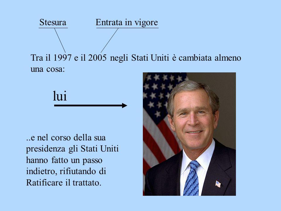Tra il 1997 e il 2005 StesuraEntrata in vigore lui..e nel corso della sua presidenza gli Stati Uniti hanno fatto un passo indietro, rifiutando di Rati