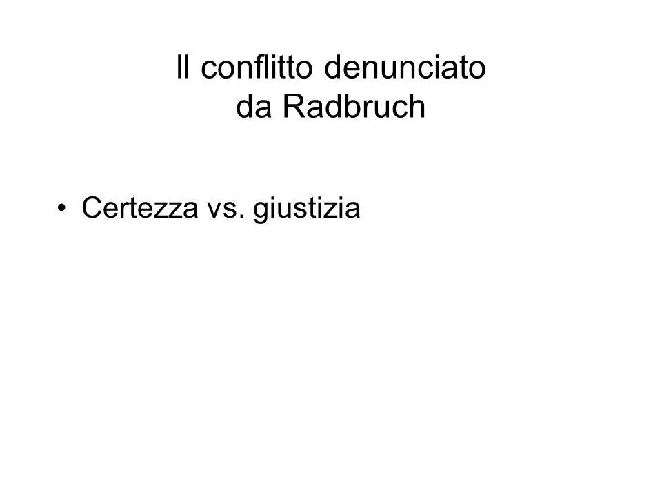 Il conflitto denunciato da Radbruch Certezza vs. giustizia