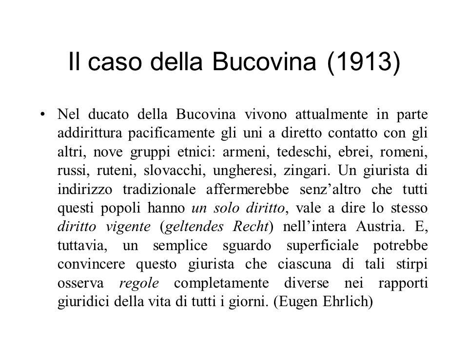 Il caso della Bucovina (1913) Nel ducato della Bucovina vivono attualmente in parte addirittura pacificamente gli uni a diretto contatto con gli altri