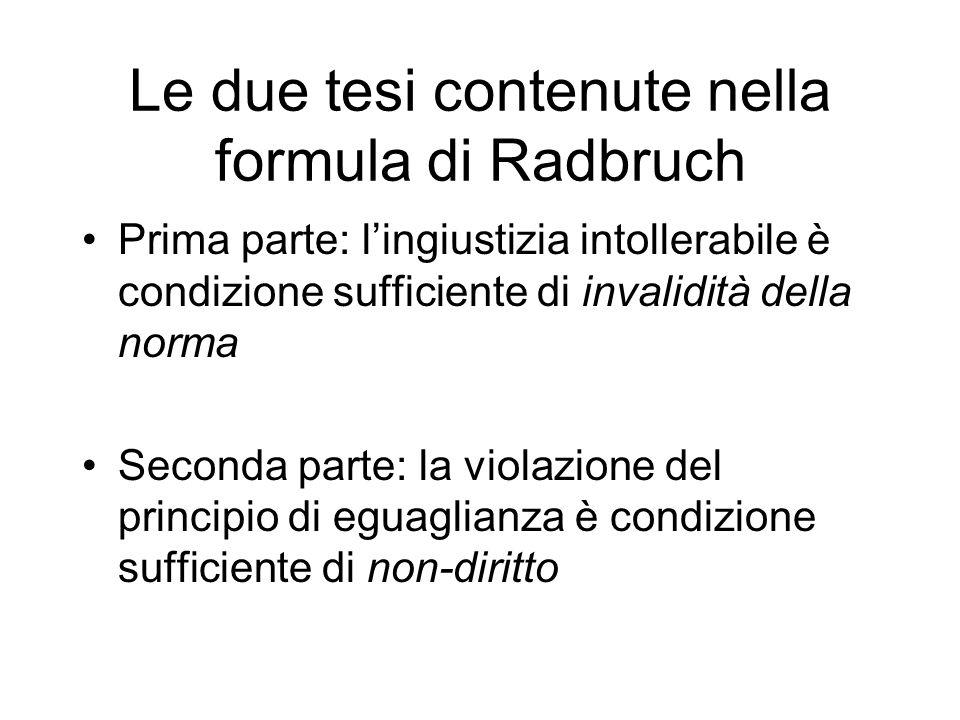 Le due tesi contenute nella formula di Radbruch Prima parte: lingiustizia intollerabile è condizione sufficiente di invalidità della norma Seconda par