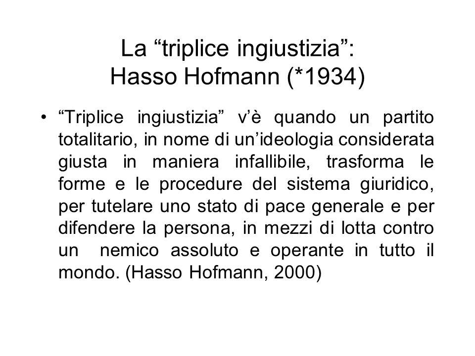 La triplice ingiustizia: Hasso Hofmann (*1934) Triplice ingiustizia vè quando un partito totalitario, in nome di unideologia considerata giusta in man