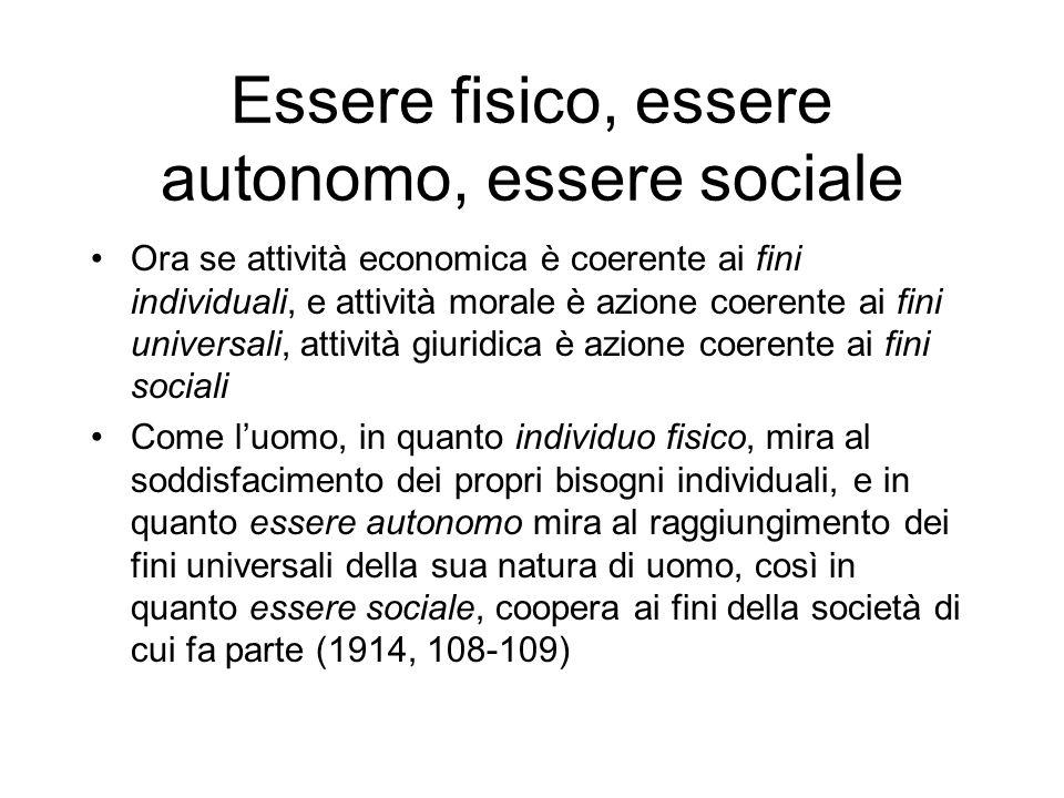 Essere fisico, essere autonomo, essere sociale Ora se attività economica è coerente ai fini individuali, e attività morale è azione coerente ai fini u