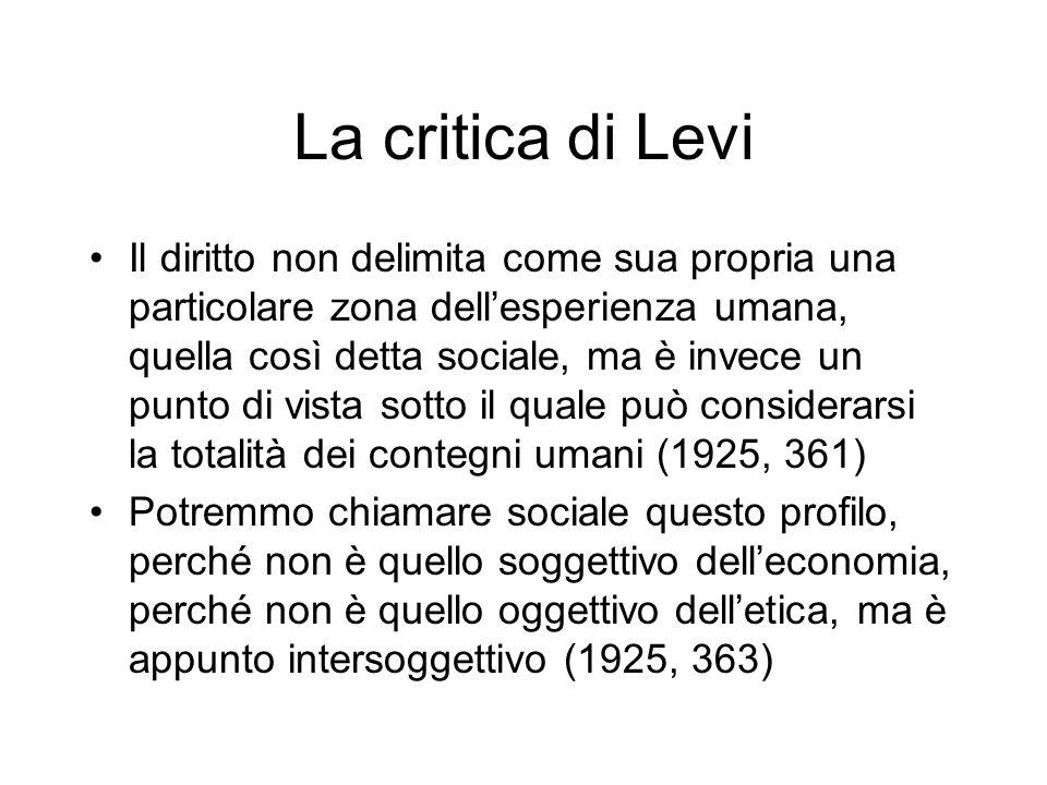 La critica di Levi Il diritto non delimita come sua propria una particolare zona dellesperienza umana, quella così detta sociale, ma è invece un punto