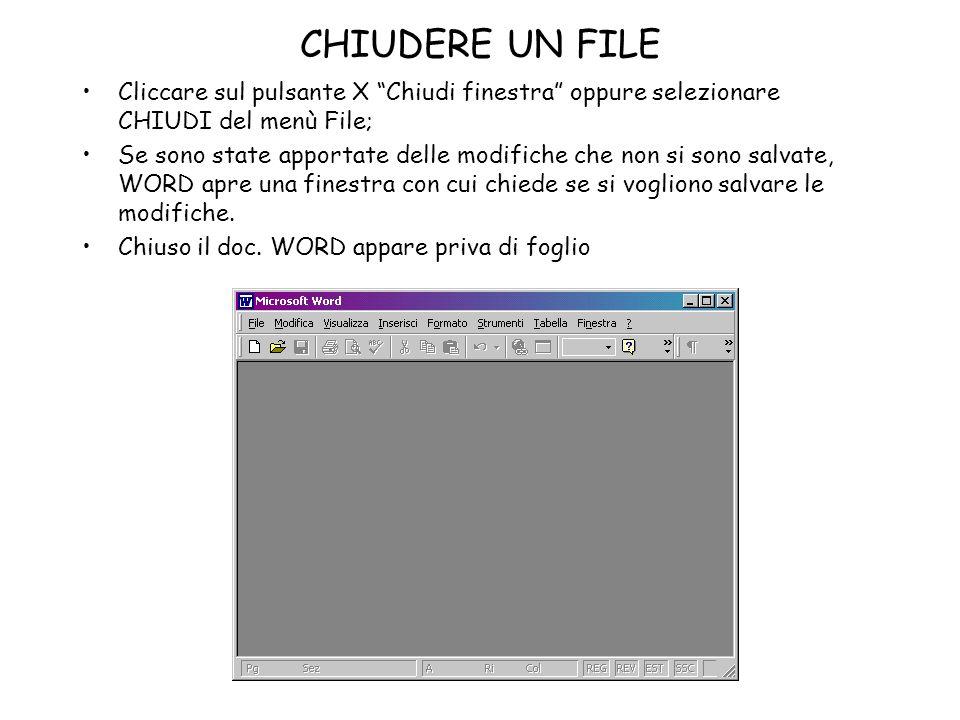 CHIUDERE UN FILE Cliccare sul pulsante X Chiudi finestra oppure selezionare CHIUDI del menù File; Se sono state apportate delle modifiche che non si s