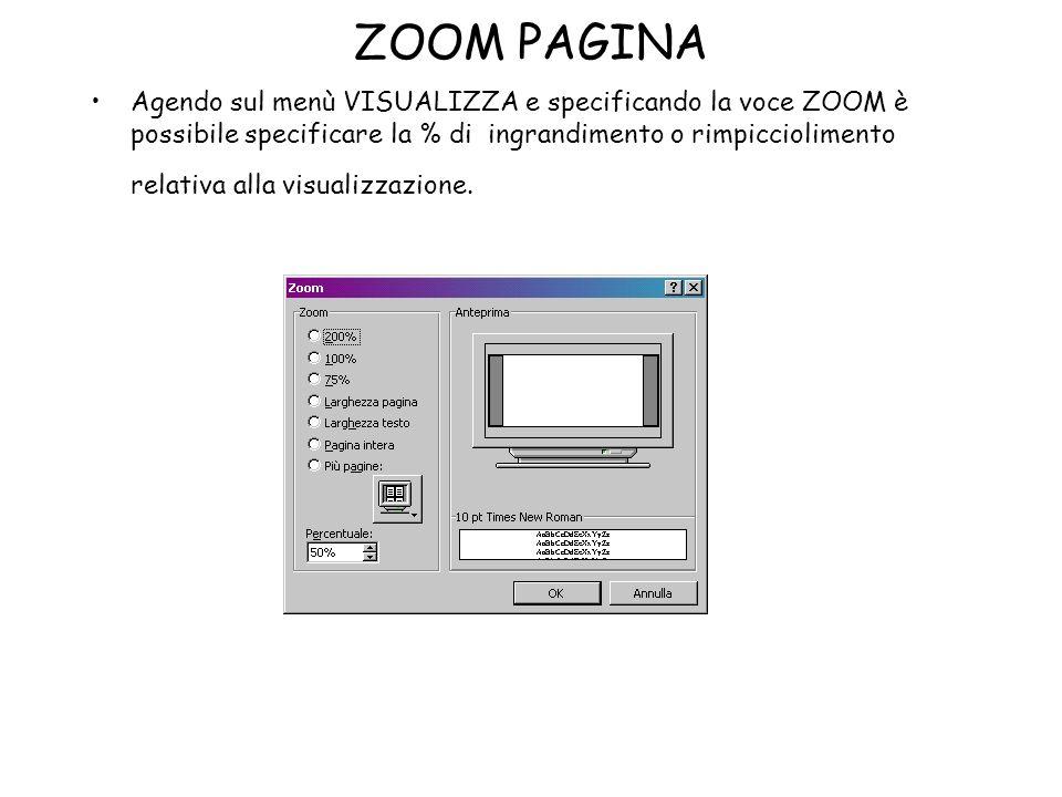 ZOOM PAGINA Agendo sul menù VISUALIZZA e specificando la voce ZOOM è possibile specificare la % di ingrandimento o rimpicciolimento relativa alla visu