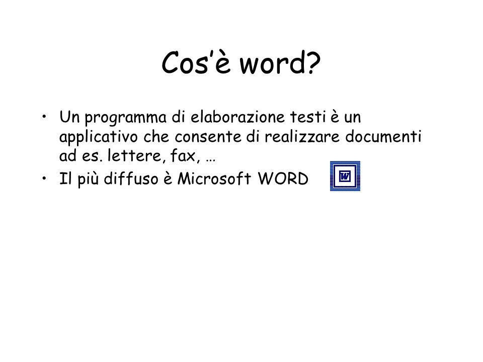 Cosè word? Un programma di elaborazione testi è un applicativo che consente di realizzare documenti ad es. lettere, fax, … Il più diffuso è Microsoft
