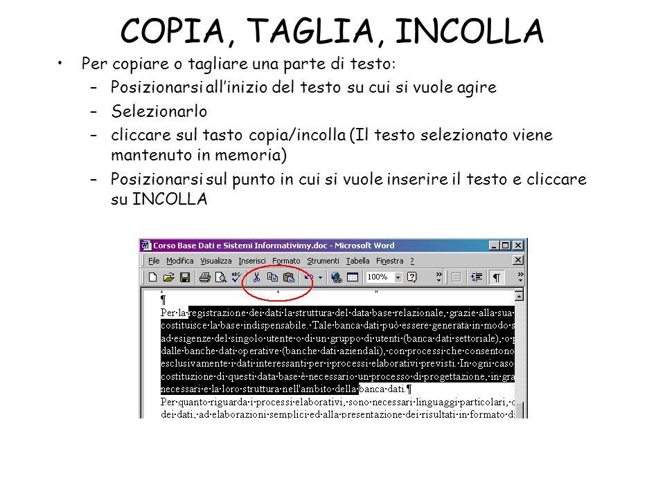 COPIA, TAGLIA, INCOLLA Per copiare o tagliare una parte di testo: –Posizionarsi allinizio del testo su cui si vuole agire –Selezionarlo –cliccare sul